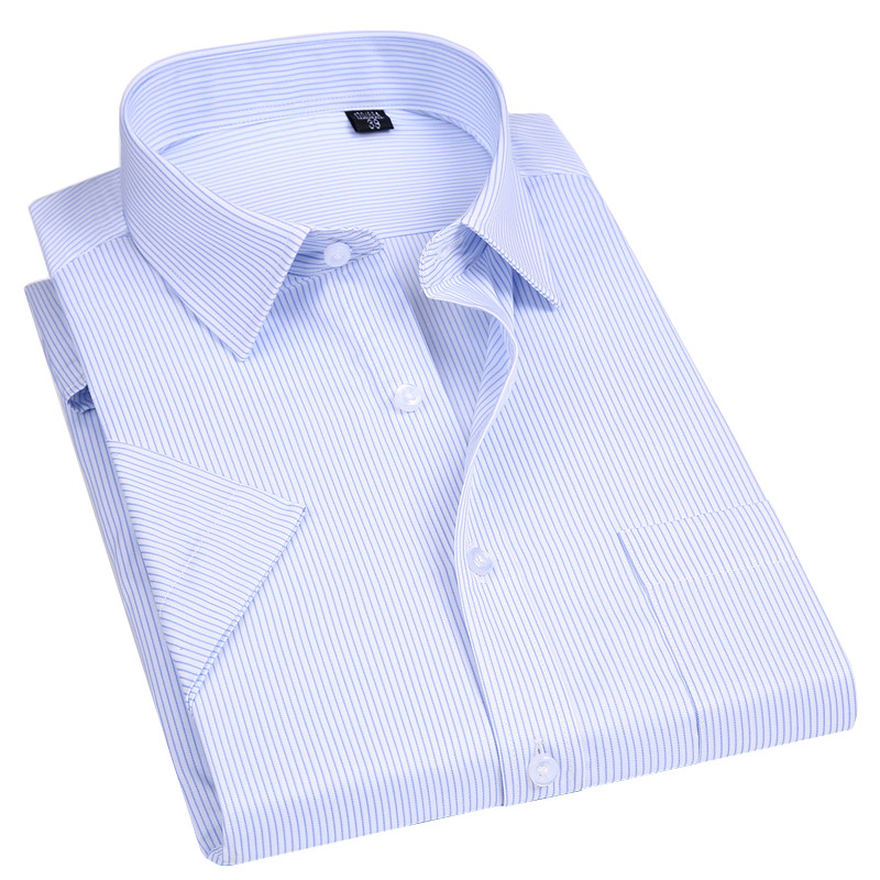 High Quality Non-ironing Men Dress Shirt Short  Sleeve New Solid Male Clothing Fit Business Shirts White Blue