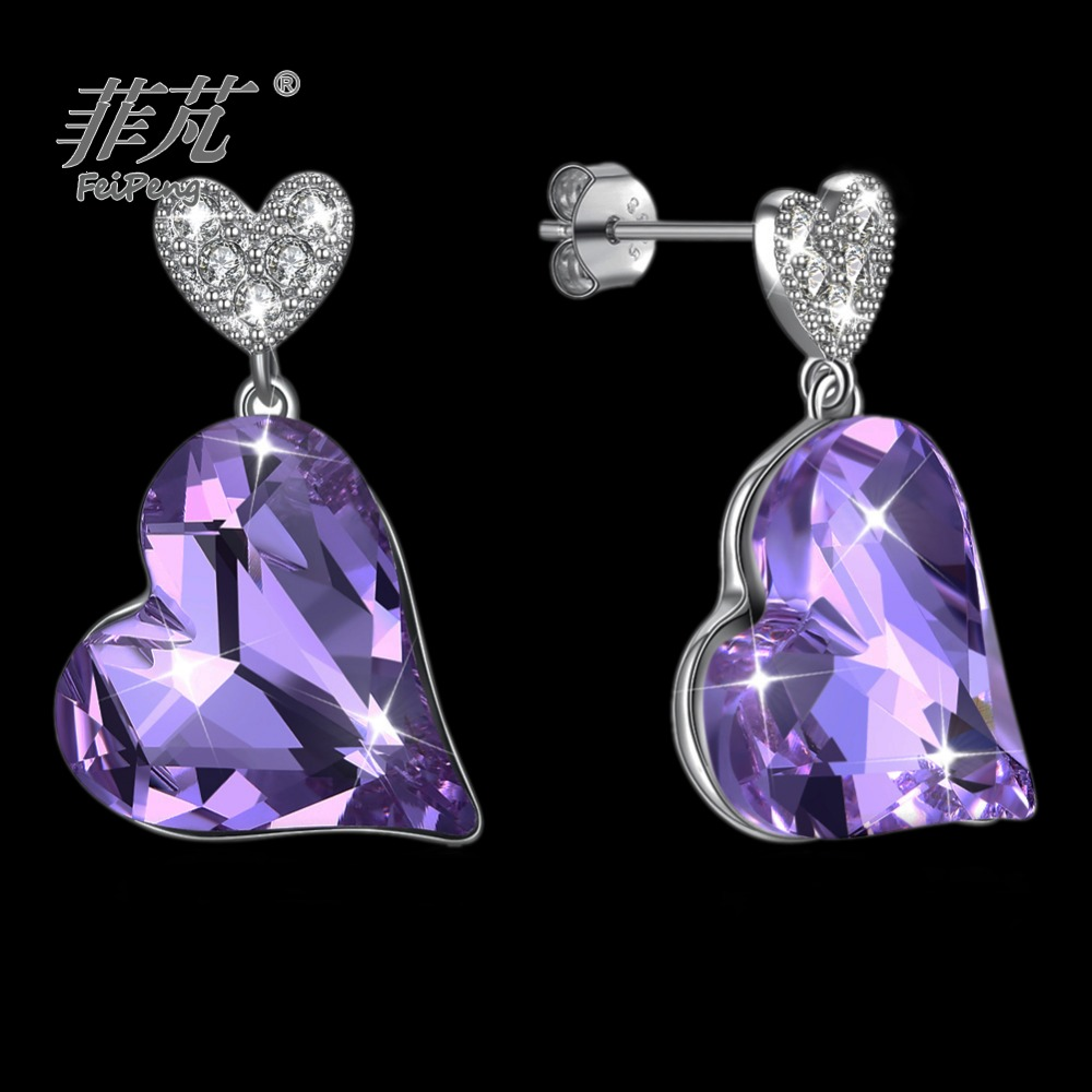 Costume jewelry Purple heart crystal Hanging piece sterling silver white gold plating stud earrings from jewelry catalog