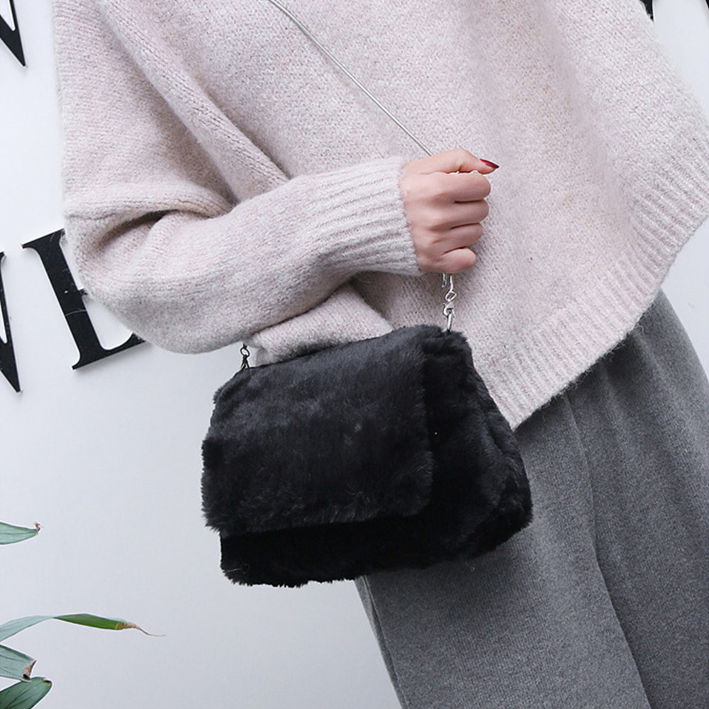 Messenger-Bags Crossbody Fashion Women Hasp Solid Bolsos Plush Mujer Super-Quality New-Arrival