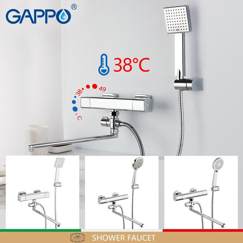 GAPPO torneira do chuveiro termostato toque mixer rodada Acessórios de tubulação de água do encanamento mangueira de chuveiro de chuva cabeça de chuveiro SPA