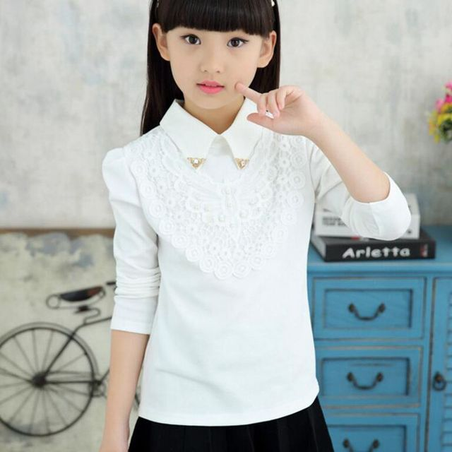 8ebd09d18ad83 3-12Y 2017 Autumn Spring Winter Girls Tops And Blouses White Pink Lace Long  Sleeve School Girl Blouse Shirt Children Kids JW2316