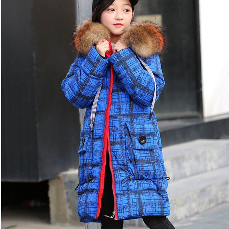 Winter 2018 Fur Hooded White Duck Down Jackets For Teenage Girls Thick Long Warm Plaid Coats & Jacket Children Outerwear Clothes buenos ninos thick winter children jackets girls boys coats hooded raccoon fur collar kids outerwear duck down padded snowsuit