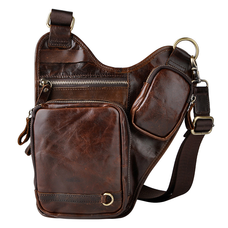 Man Leather Bag Small Oil Wax Saddle Bag Cow Genuine Leather Messenger Bags Fashion Steam Punk Crossbody Cowhide Shoulder Bags