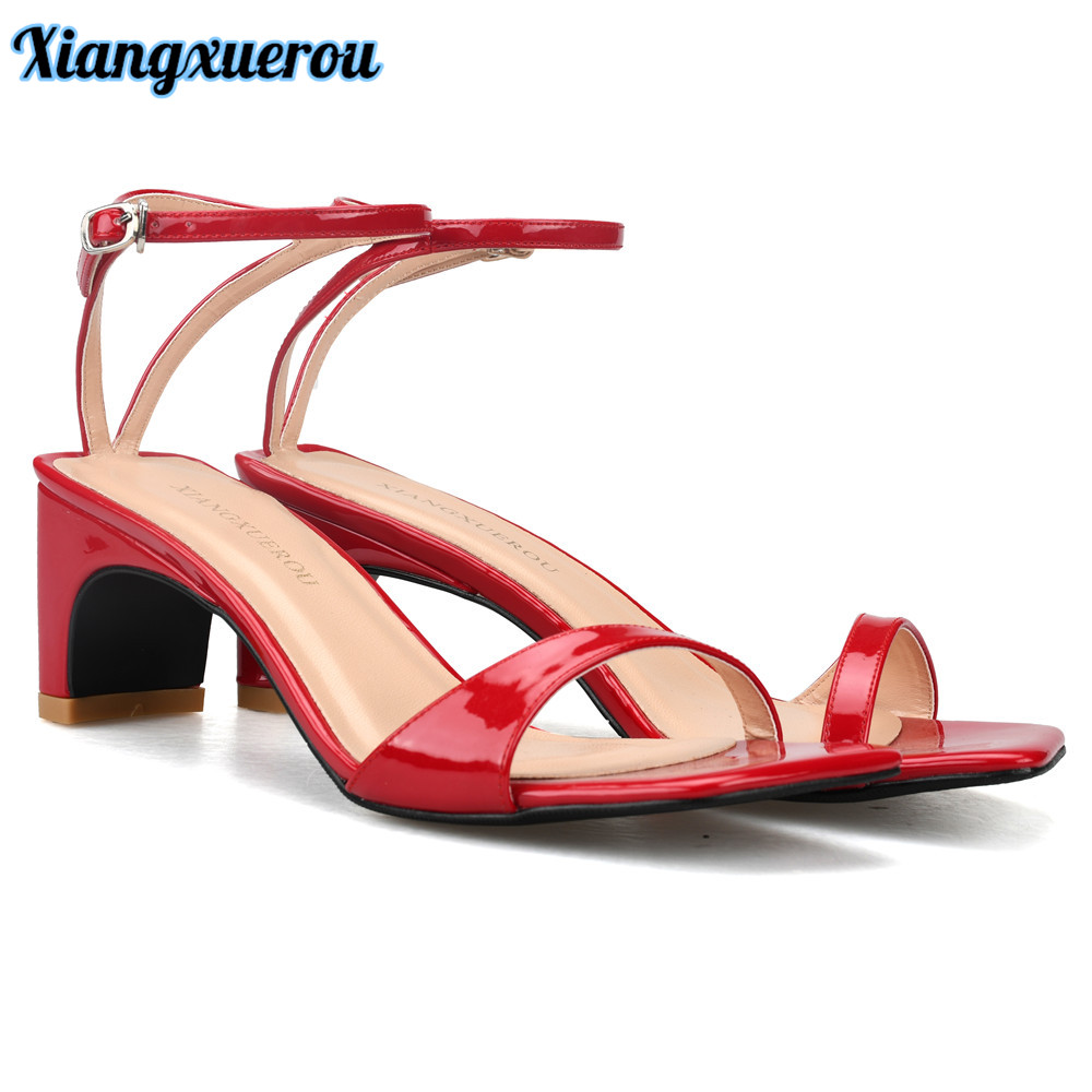 Xiangxuerou New Styles Summer Chunky 8cm Heels Sandals Shoes For Women Red Patent Leather Ankle Strap Sandals Shoes Top Quality