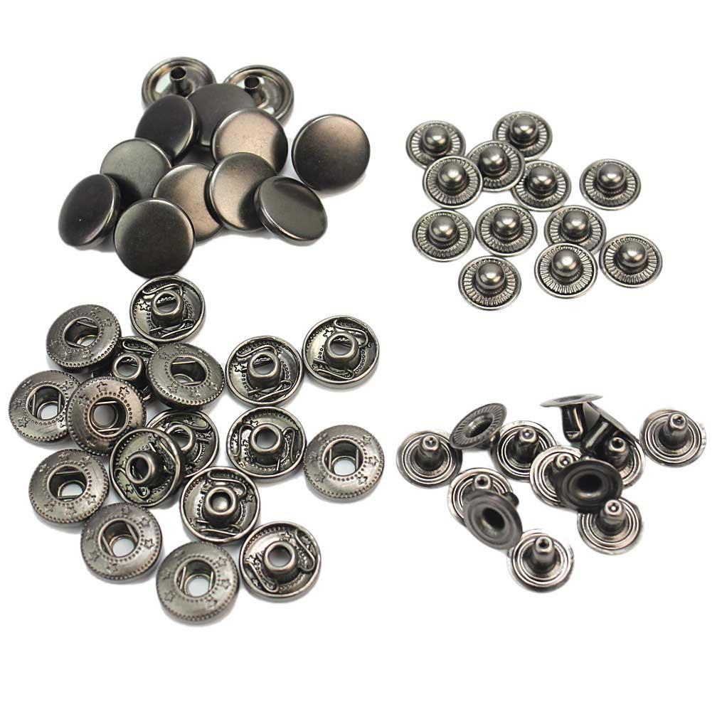 50 шт./упак. 13 мм Винтаж Стиль черного металла оснастки Пресс крепеж шпильки для шитья одежды швейная Пряжка DIY Craft