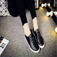 New 2016 Spring and Summer Women Shoes Breathable Brand Lace Up Shoes Flat Shoes Chaussure Femme Women Casual Shoes Black White