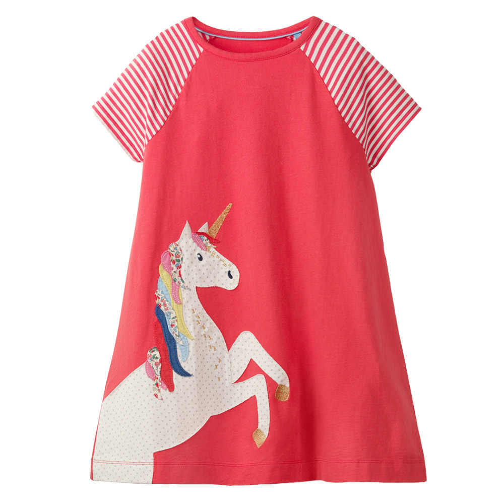 1df57362896b ... Kidsalon Girls Short Sleeve Stripe Summer Dress Toddler Party Unicorn  Princess Dress Children Costume for Kids ...