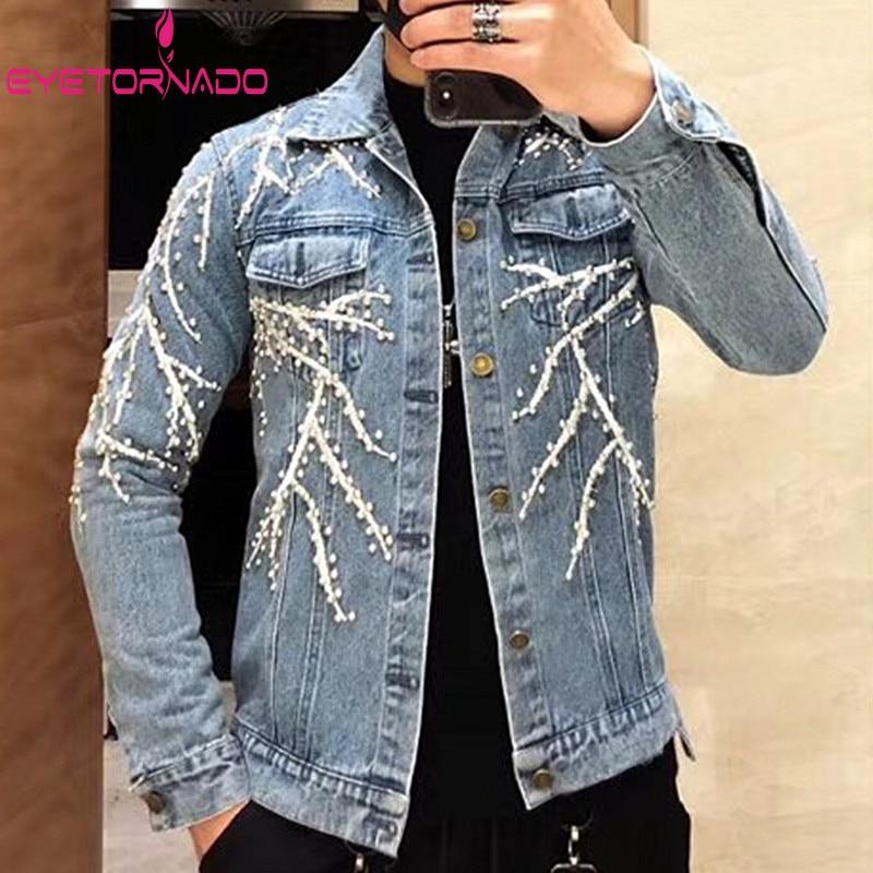 2adc93c28 US $74.96 25% OFF|Tree Embroidery Rivet Beadings Punk Hiphop Denim Jacket  Plus Size Men Pockets Casual Short Jeans Jacket Harajuku Bomber Jackets-in  ...