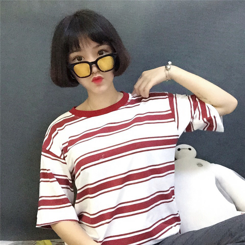 2019 college harajuku lose striped t shirt frauen kurzarm hit farbe - Damenbekleidung - Foto 5