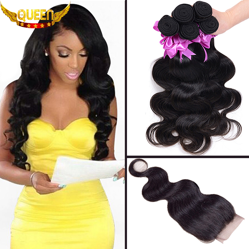7A Brazilian Virgin Hair With Closure 3Bundles Brazilian Body Wave With 1PC Lace Closure 100% Human Hair Bundles With Closures