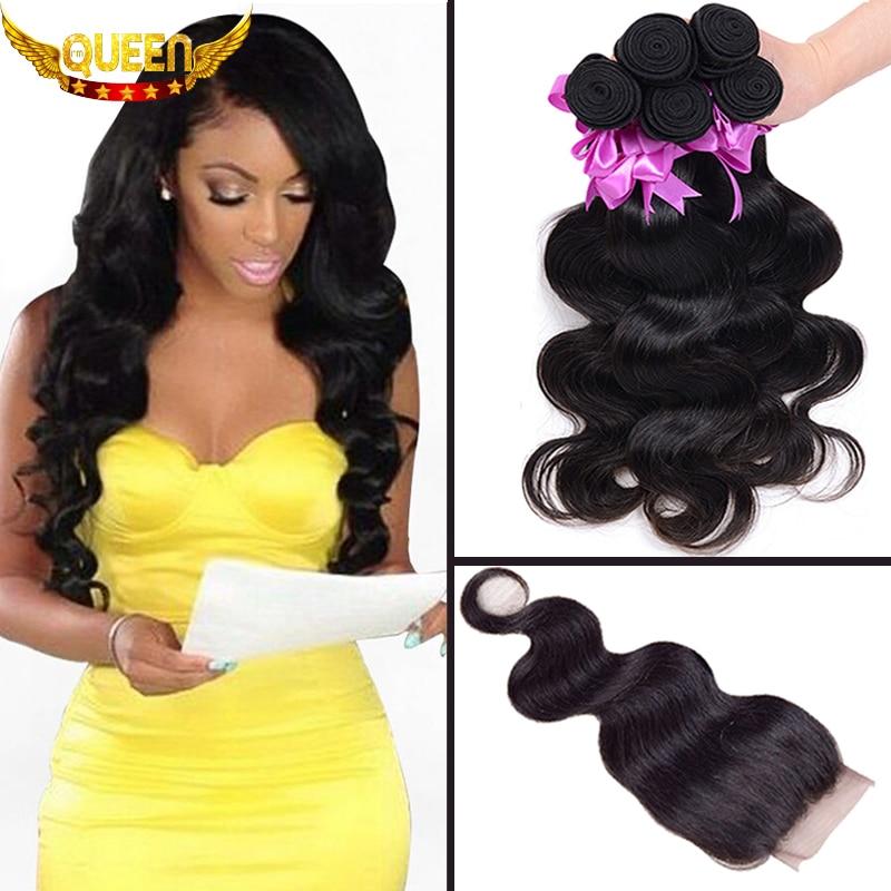 7A Brazilian Virgin Hair With Closure 3Bundles Brazilian Body Wave With 1PC Lace Closure 100% Human Hair Bundles With Closures