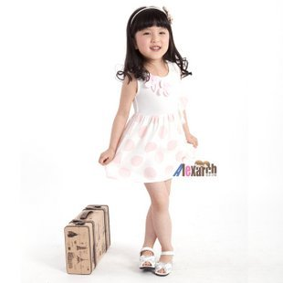 Free shipping!!Factory Direct! HOT SELLING! TOP QUALITY! Children's clothing fashion baby girls short-sleeved lace dressA1058