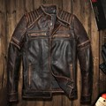 2016 New  punk rivet Men Retro VintageGrey Brown Leather Motorcycle Jackets Genuine Thick Cowhide Slim Fit Men Winter Biker Coat