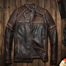 2016 New  punk rivet Men Retro VintageGrey Brown Leather Motorcycle Jackets Genuine Thick Cowhide Slim Fit Men Winter Biker Coat