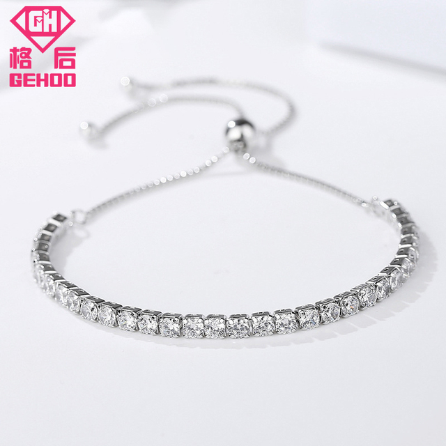 Gehoo 2018 New Simple Design 925 Sterling Silver Chains Wedding Charm Bangle Bracelets For Woman