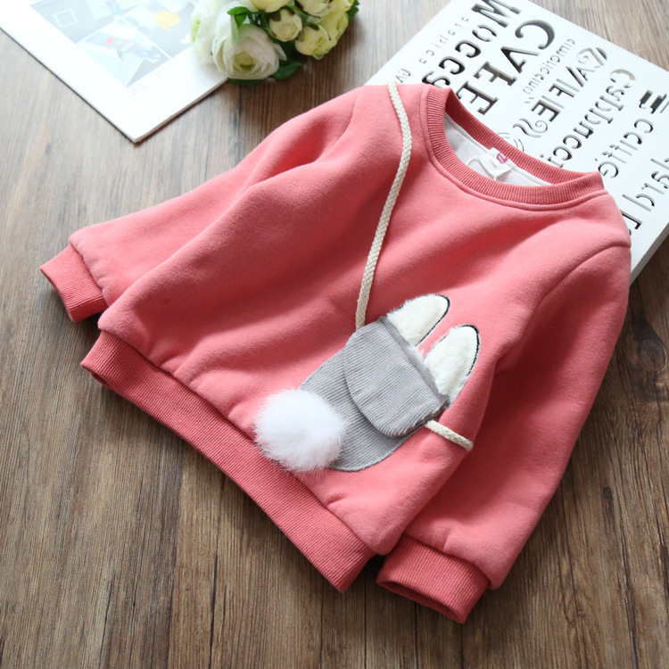 winter girls thick hoodies kids o-neck long sleeve pink purple red warm clothes baby casual cartoon tops children clothing 2-7T pudcoco baby girls kids casual long sleeve hoodies clothes rainbow striped o neck pullover sweatshirt tops