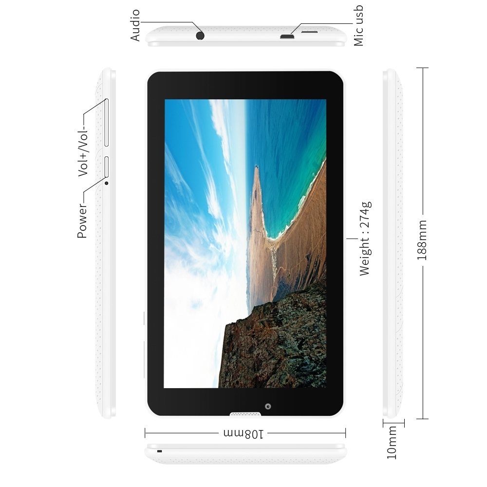 New arrival 2 color E706 7 Android 5 1 Touch Screen1024 600 Tablet 3G Unlocked phone