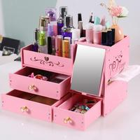 Home Desktop Cosmetic Storage Box Drawer Mirror Container Makeup Jewelry Organizer