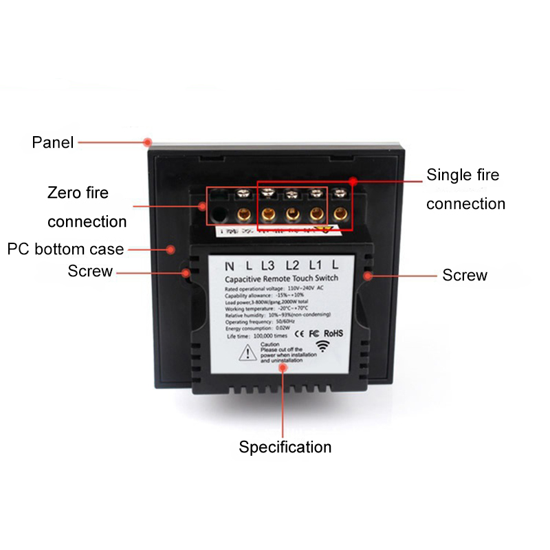 Touch Switch 2 Gang 1 Way Tough Light Switch Crystal Glass Switches ...
