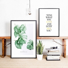 Plant Motivational Nordic Modern Simple Style Monstera Deliciosa Poster Canvas Wall Home Decoration Combined