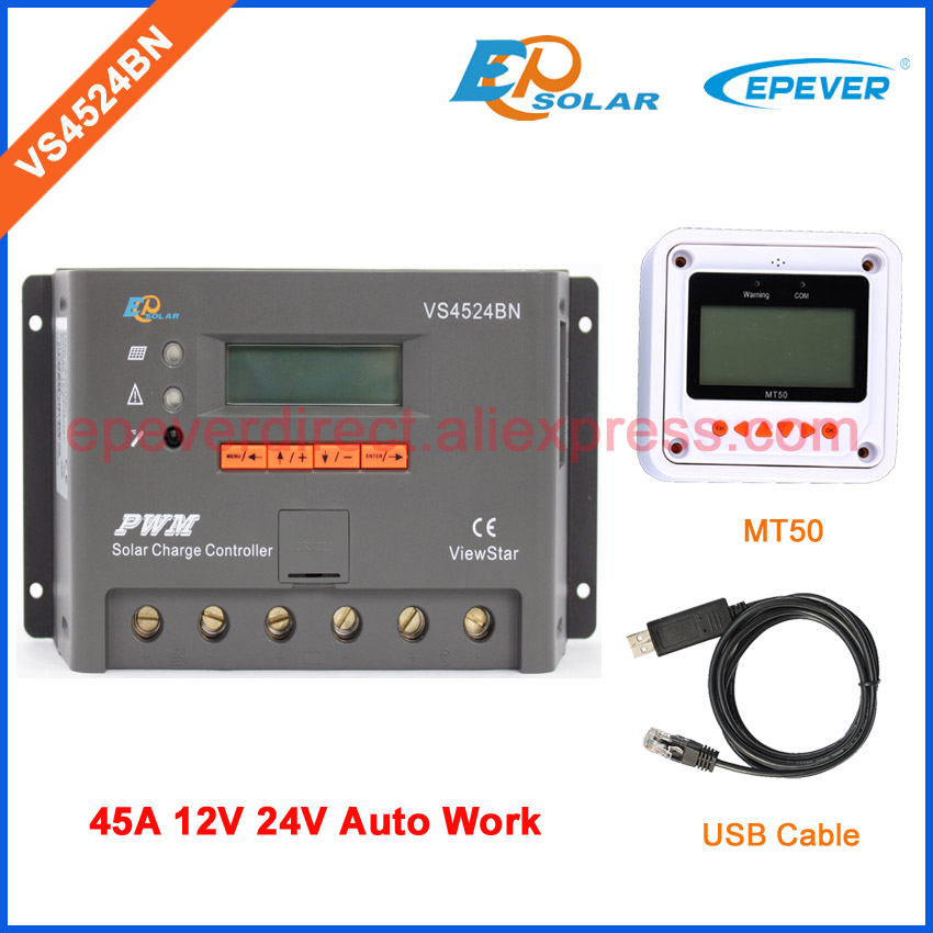 MT50 remote meter for user setting Solar 45A 12V system work Charger regulator PWM EPEVER Brand controller VS4524BN vs4524bn 45a pwm controller network access computer control can connect with mt50 for communication