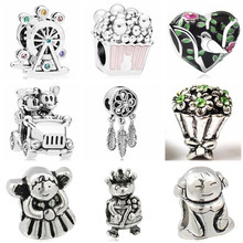 Btuamb Punk Vintage Buddha Small Girl Bee Mickey Cartoon Beads Fit Original Pandora Bracelets & Bangles for Women Making Jewelry(China)