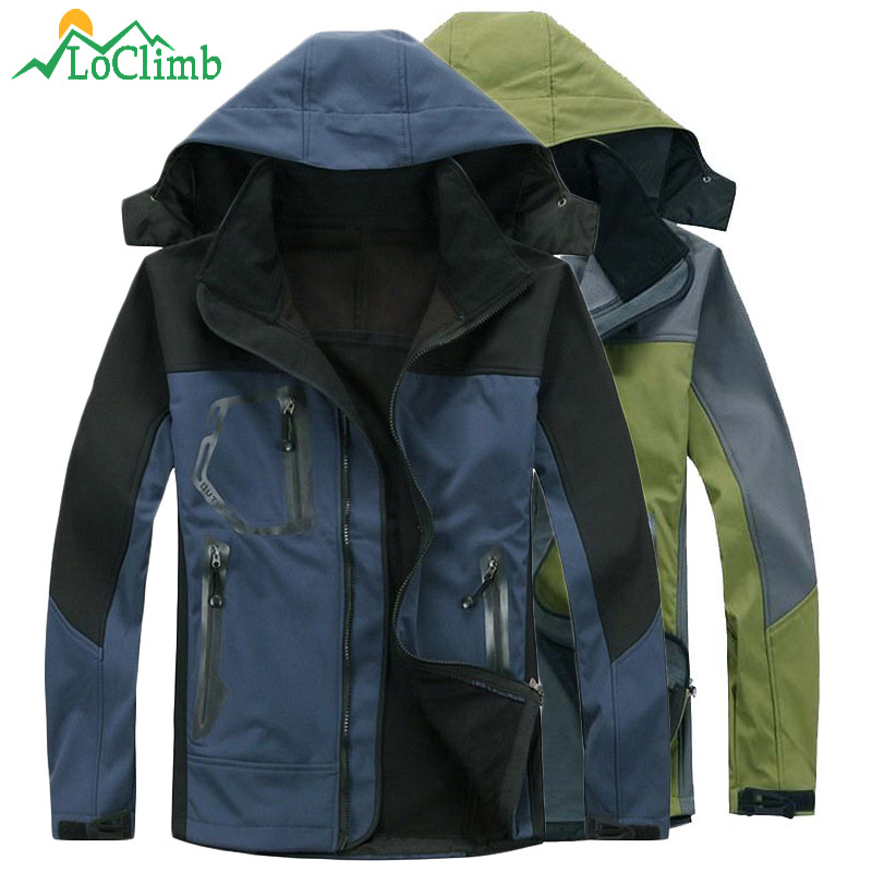 LoClimb Softshell Waterproof Camping Hiking Jacket Men Trekking Mountain Climbing Coat Winter Warm Fleece Ski Jackets,AM037 men women winter waterproof mountain clothes climbing hiking overcoats thicken fleece lined warm outwear jacket coat for lovers