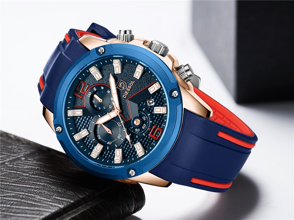 DIESSOL Men's Fashion Sports Quartz Watch Mens Watches Top Brand Luxury Rubber Band Waterproof Business Watch Relogio Masculino 19