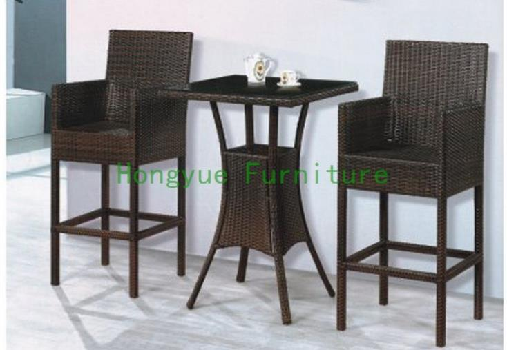 New pe rattan home bar furniture,bar table chairs new pe rattan dining chairs with tempered glass