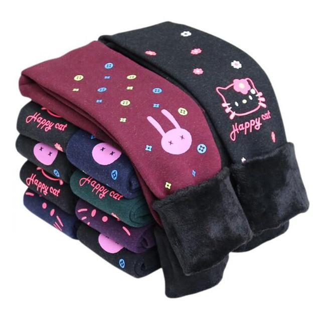 2016 года Детские новые зимние леггинсы для девочек утепленные плотные штанишки в корейском стиле с рисунками и персонажами верхняя одежда брюки-стретч