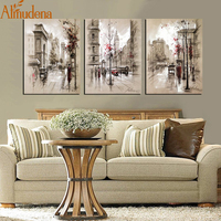 ALMUDENA Home Decor Canvas Poster Abstract City Street Landscape Paintings Modern Wall Pictures 3 Pieces Wall