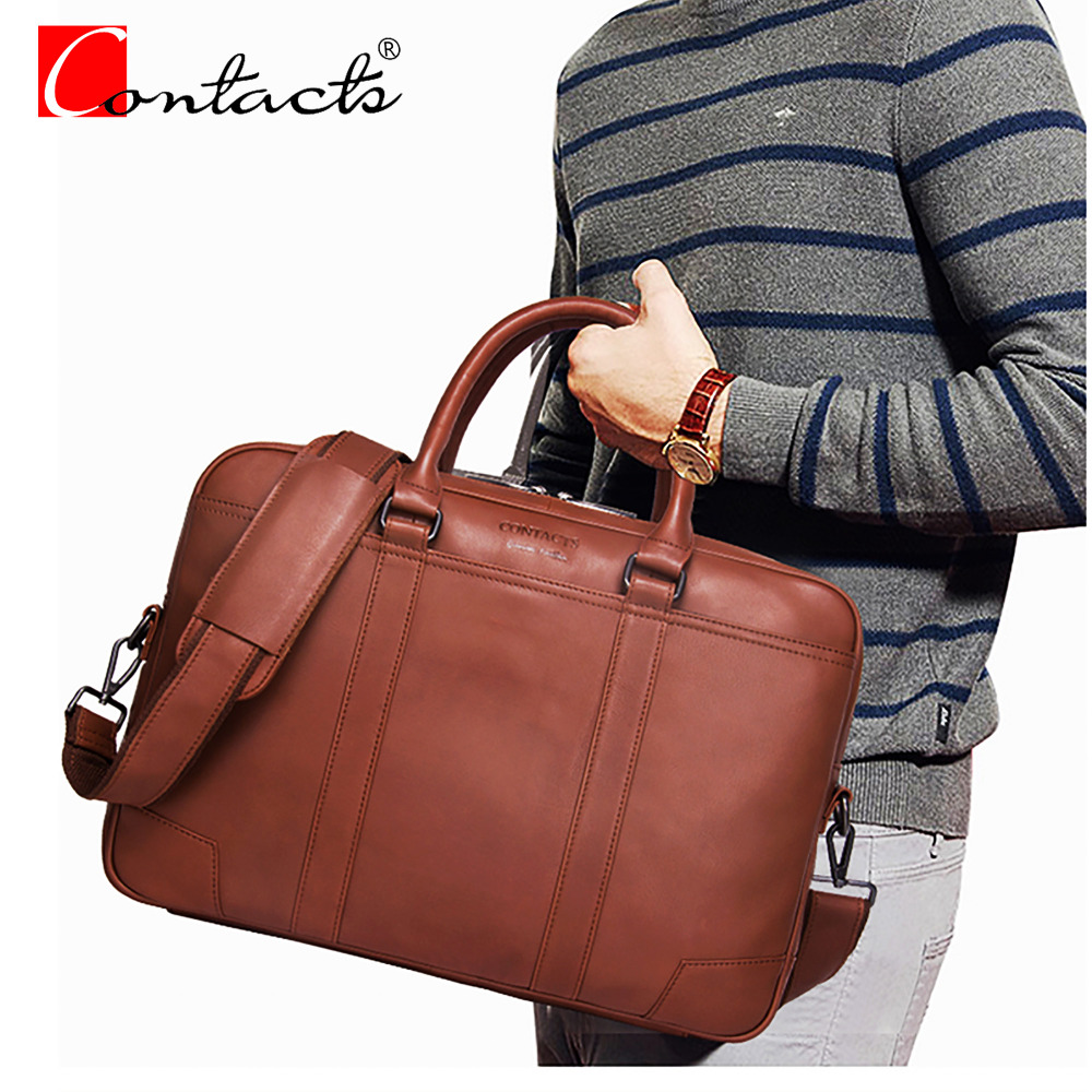 CONTACT'S 14 Genuine Leather Men Bags Men's Handbags Business Men Fashion Travel Crossbody Laptop Bag Herrenbeut  Saco de homem diamonds cd