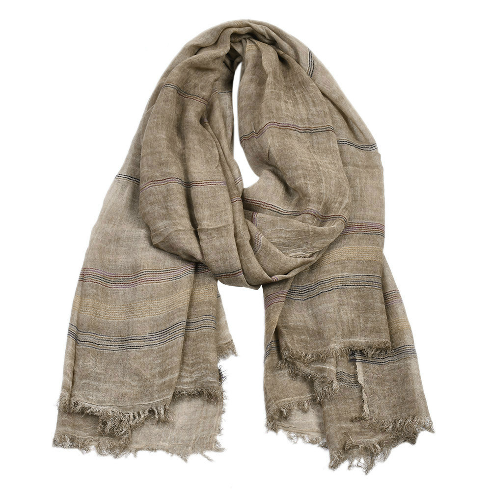 Men's 2019 New Yarn-dyed Striped Scarf Men's Winter Retro Pure Cotton And Linen Scarves Du Rags For Men