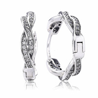 100 Real 925 Sterling Silver Twist Of Fate Pandora Earrings With Clear Cz For Women Lady