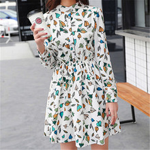 original 2018 Brand New Spring Vintage Elastic Waist Dresses Chiffon O-neck Long-Sleeved Floral Dress Female Vestidos