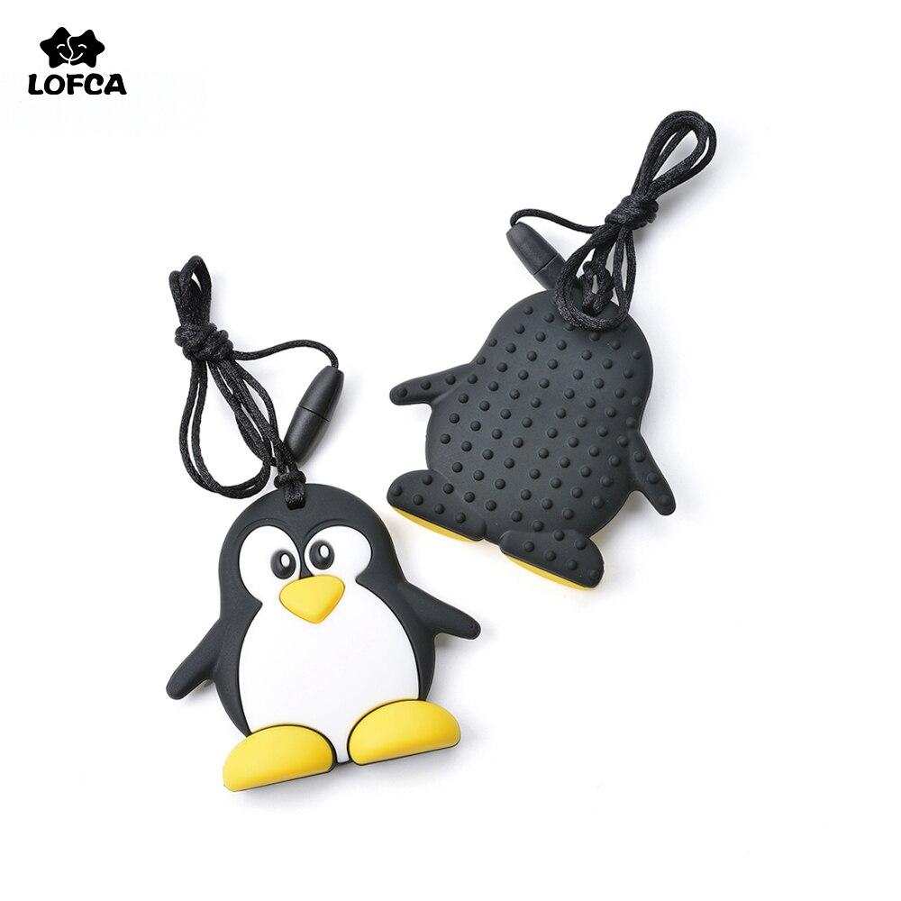 Divat rajzfilm 1db pingvin teether szilikon mosómedve szopás vicces éhség baba játék biztonságos baba új forró nyaklánc