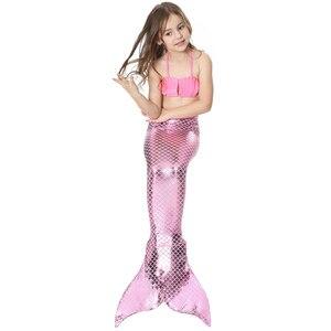 Image 3 - 여자의 인어 꼬리 지느러미 Monofin 플리퍼 의상 인어 수영 꼬리 아이들을위한 여자 코스프레 비키니 착용 수영복