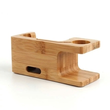 Bamboo Wood Charging Stand Dock For Apple