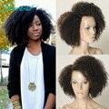 Brasileño de la Virgen Afro Rizado Rizado Sin Cola Del Frente Del Cordón Pelucas de Cabello Humano 7A llena Del Cordón Peluca Llena Del Cordón Del Pelo Humano Pelucas Para Negro mujeres