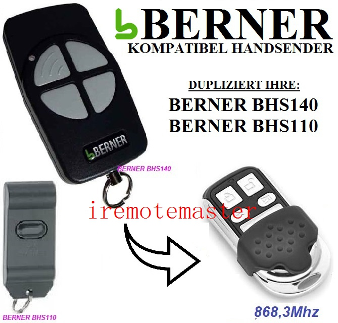 BERNER BHS140,BHS110 garage door remote control replacement free shipping цены