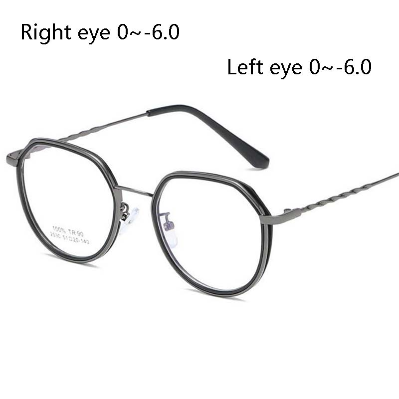 1.56 Asferische Lenzen Bijziendheid Zonnebril Retro Tr90 Geometrische Frame Recept Bril Meekleurende Kortzichtig Bril