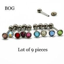 BOG-Flache CZ Edelstein Zunge Barbell Ring Piercing Mit Schraube Fit Intern Gewinde Assorted 9 Farbe 9 teile/los