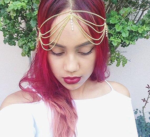 mujeres de oro cortina de la borla de la cadena de pelo frente cabeza cadena