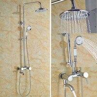Wall Mounted 8 Rain Bathroom Shower Faucet Set Shower Mixer Tap Set Shower Column Chrome Finish
