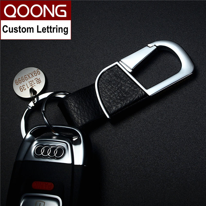 QOONG 2018 Fashion Car Keychain Genuine Leather Metal Key Chain Key Ring Man 39 s Waist Hanged Key Holder Double Loop Keyring Y04 in Key Chains from Jewelry amp Accessories