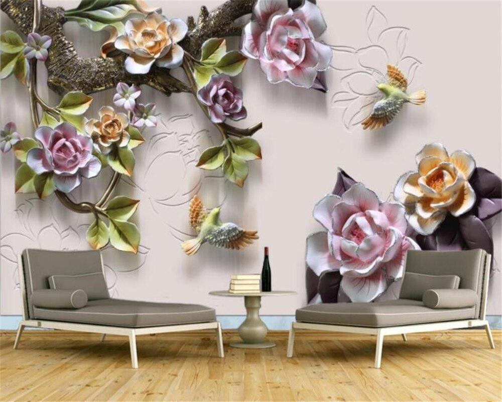 Beibehang Customize Any Size Wallpaper Mural Embossed Rose Flower Bird TV Background Wall 3d Wallpaper Papel De Parede