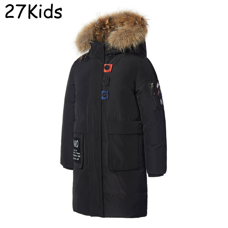 2017 Kids Down Jacket Warm White Duck Winter Coat Boy Brand Fur Collar Hooded Parka Padded Teenagers Girls Jackets High Quality цены онлайн