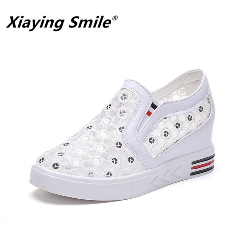 Xiaying Smile Summer Women Hollow Footwear Female Breathable Tennis Shoes Walking Shoe Lady Elevator heightening Casual Shoes ...