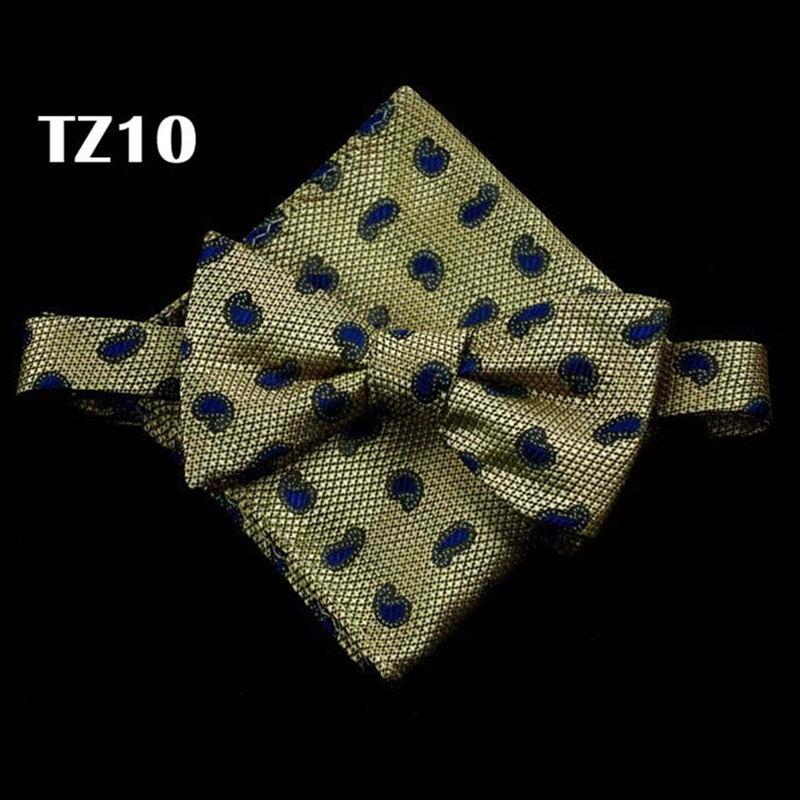 (1 pieces/lot) Paisley Silk pocket square gold Self bow ties Jacquard Woven Men Butterfly Pocket Square Handkerchief Hanky Set