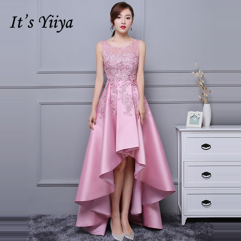 It's YiiYa   Prom     Dresses   Appliques Beading O-neck Sleeveless High Low A-line Party Gowns Girl's robe de soiree LX1366